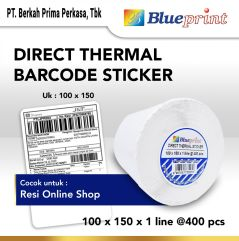 Direct Thermal Sticker  Label Stiker BLUEPRINT 100x150mm Isi 400 Sticker