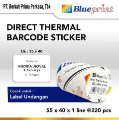 Direct Thermal Sticker  Label Stiker BLUEPRINT 55x40x1 Line Isi 220