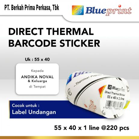 Sticker Label Direct Thermal Sticker  Label Stiker BLUEPRINT 55x40x1 Line Isi 220 18 direct thermal 55x40x1 line 1