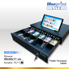 CASH DRAWER  LACI KASIR  LACI UANG BLUEPRINT CDBPL01 40x42x11 Cm