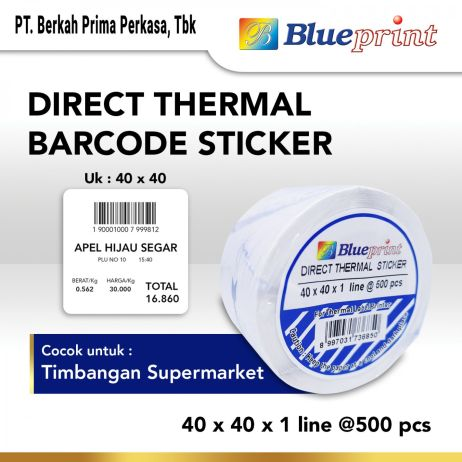 Sticker Label Direct Thermal Sticker  Label Stiker BLUEPRINT 40x40x1 Line Isi 500 bp dts40401 slide 1