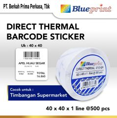 Direct Thermal Sticker  Label Stiker BLUEPRINT 40x40x1 Line Isi 500