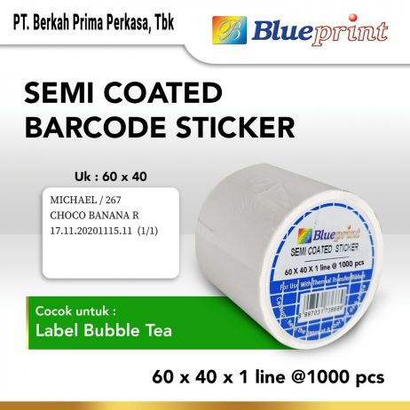 Sticker Label Sticker label Barcode 60x40x1 Line Semi Coated BLUEPRINT isi 1000Pcs bp scs60401 slide 1