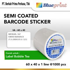 Sticker label Barcode 60x40x1 Line Semi Coated BLUEPRINT isi 1000Pcs