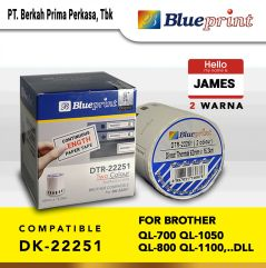 Stiker Label 22251 BLUEPRINT 62x1524m Continuous Roll 2 Warna Brother