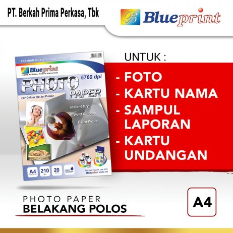 Kertas Foto Kertas Foto  Kertas Glossy  Glossy Photo Paper BLUEPRINT A4 190 gsm Polos photo paper a4 210gsm polos