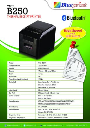 Knowledge Printer Thermal BLUEPRINT Bluetooth Printer TMUB250