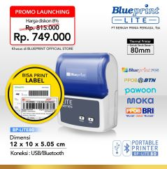 Portable Printer Thermal Label 80 BLUEPRINT BP LITE80 USB  Bluetooth